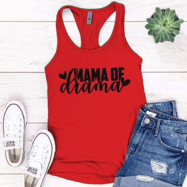 Mama Of Drama Premium Tank Tops Apparel Edge Red S