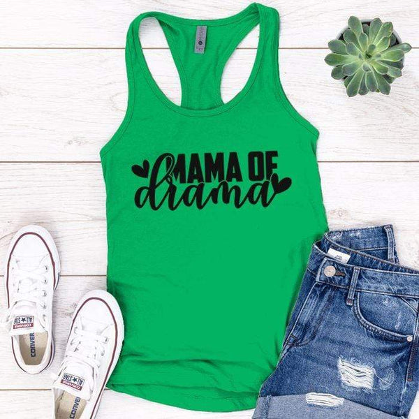 Mama Of Drama Premium Tank Tops Apparel Edge Kelly Green S