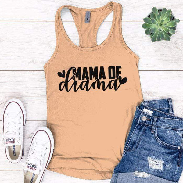 Mama Of Drama Premium Tank Tops Apparel Edge Light Orange S