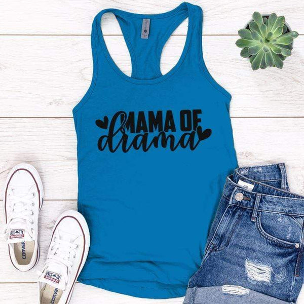 Mama Of Drama Premium Tank Tops Apparel Edge Turquoise S