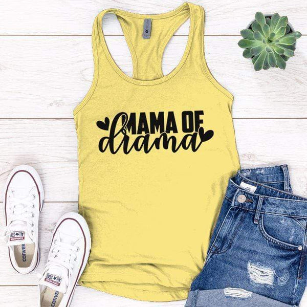 Mama Of Drama Premium Tank Tops Apparel Edge Banana Cream S