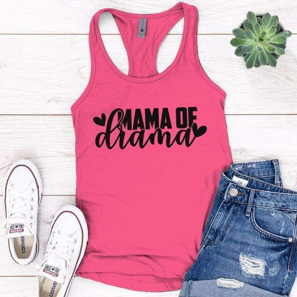 Mama Of Drama Premium Tank Tops Apparel Edge Pink S