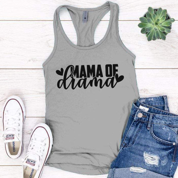 Mama Of Drama Premium Tank Tops Apparel Edge Heather Grey S