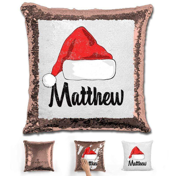 Personalized Santa Claus Hat Christmas Magic Sequin Pillow Pillow GLAM Rose Gold