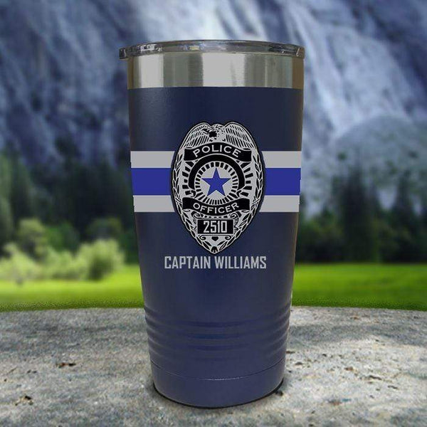Personalized Police FULL Wrap Color Printed Tumblers Tumbler Nocturnal Coatings 20oz Tumbler Navy