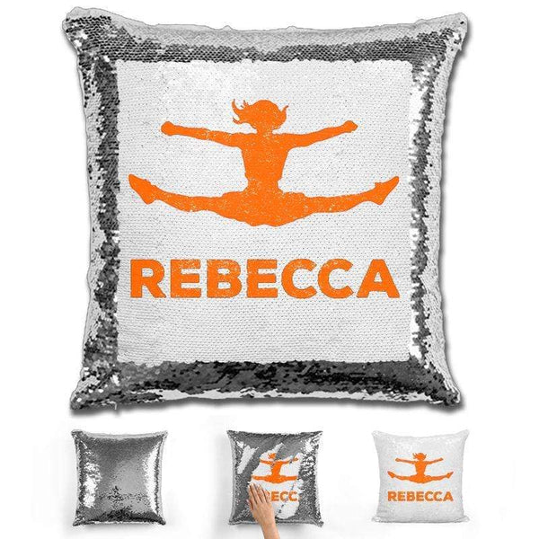 Competitive Cheerleader Personalized Magic Sequin Pillow Pillow GLAM Silver Orange