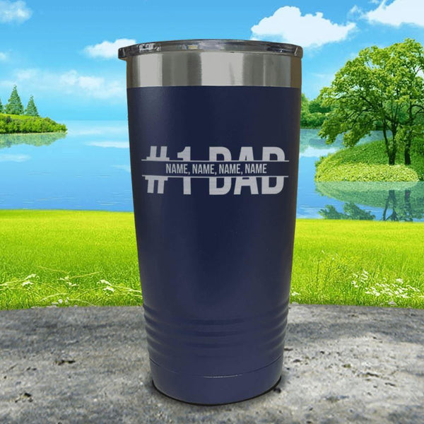 #1 Dad (CUSTOM) With Child's Name Engraved Tumbler Tumbler ZLAZER 20oz Tumbler Navy