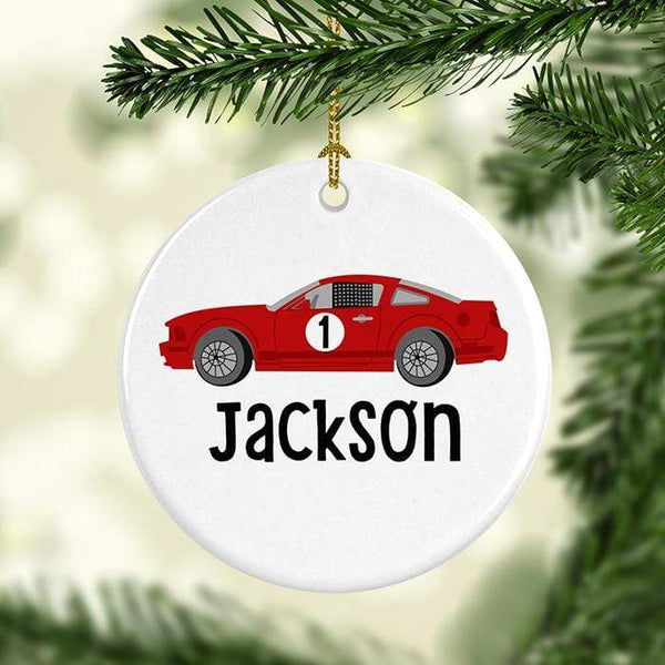 Race Car Personalized Ceramic Ornaments