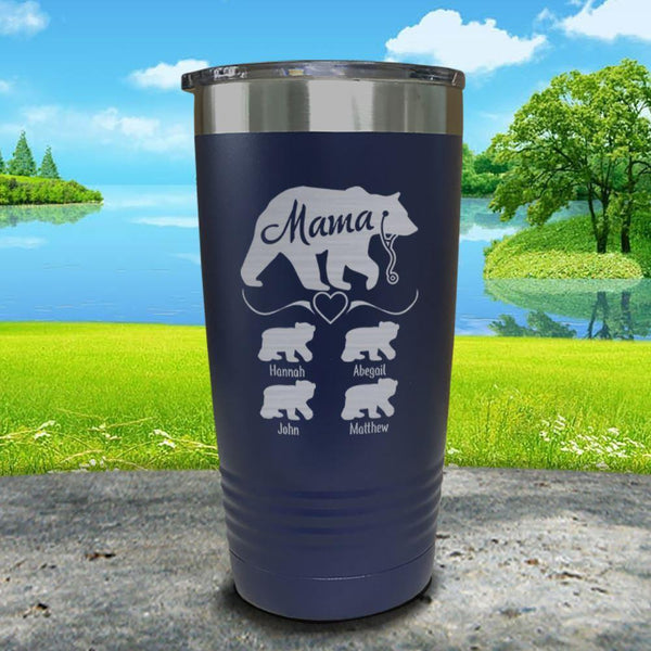 Mama Bear Nurse (CUSTOM) With Child's Name Engraved Tumblers Tumbler ZLAZER 20oz Tumbler Navy