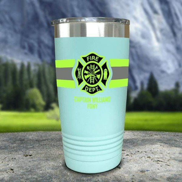 Personalized Firefighter FULL Wrap Color Printed Tumblers Tumbler Nocturnal Coatings 20oz Tumbler Mint