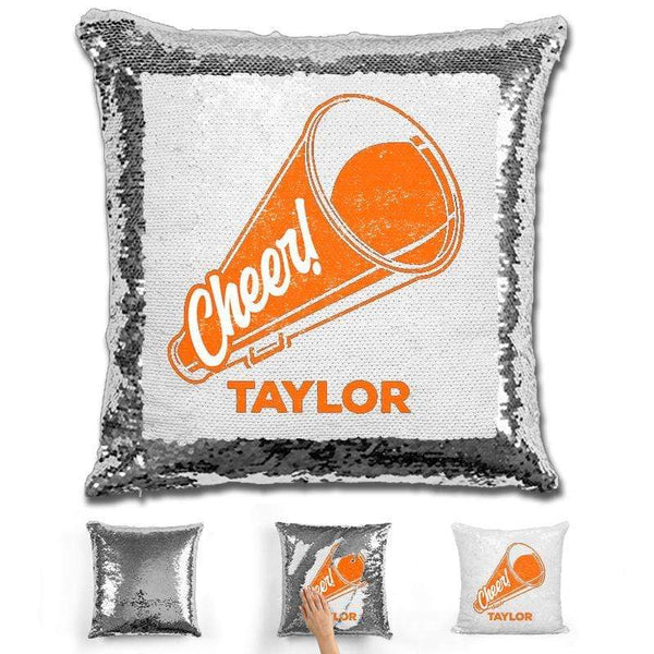 Cheerleader Personalized Magic Sequin Pillow Pillow GLAM Silver Orange