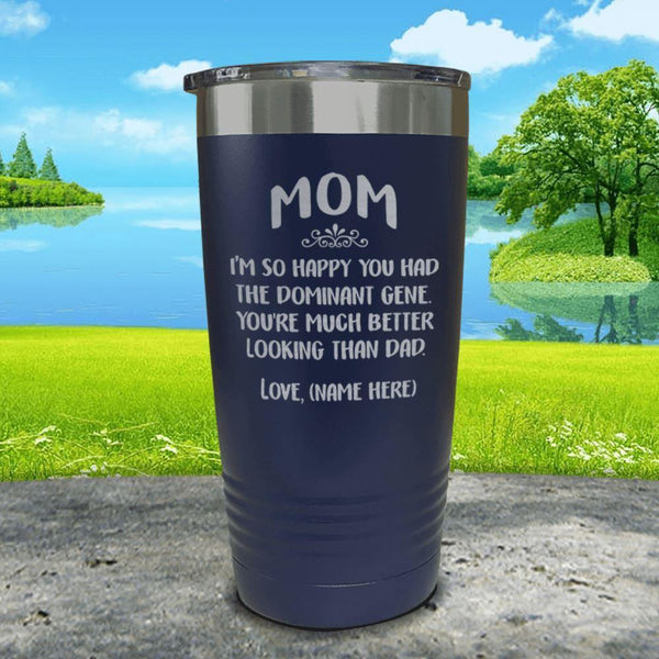 Mom Dominant Gene (CUSTOM) With Child's Name Engraved Tumbler Tumbler ZLAZER 20oz Tumbler Navy