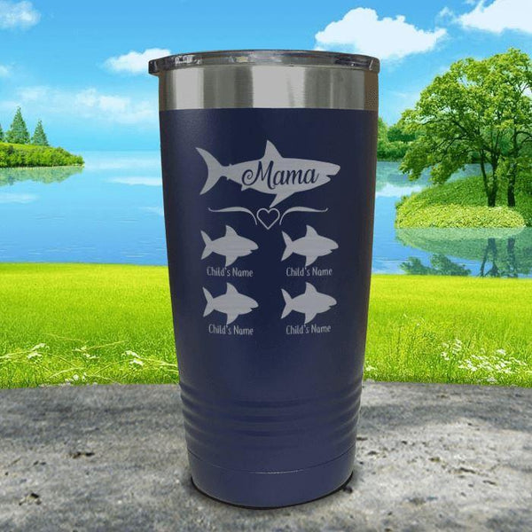 Mama Shark (CUSTOM) With Child's Name Engraved Tumblers Tumbler Southland 20oz Tumbler Navy