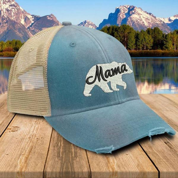 Mama Bear Premium Trucker Hat Hat Edge Teal