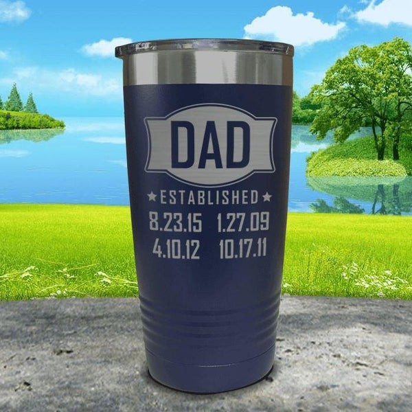 Dad Established CUSTOM Dates Engraved Tumblers Tumbler ZLAZER 20oz Tumbler Navy
