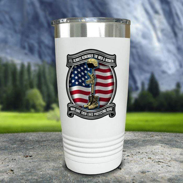 Veteran Always Remember Color Printed Tumblers Tumbler Nocturnal Coatings 20oz Tumbler White