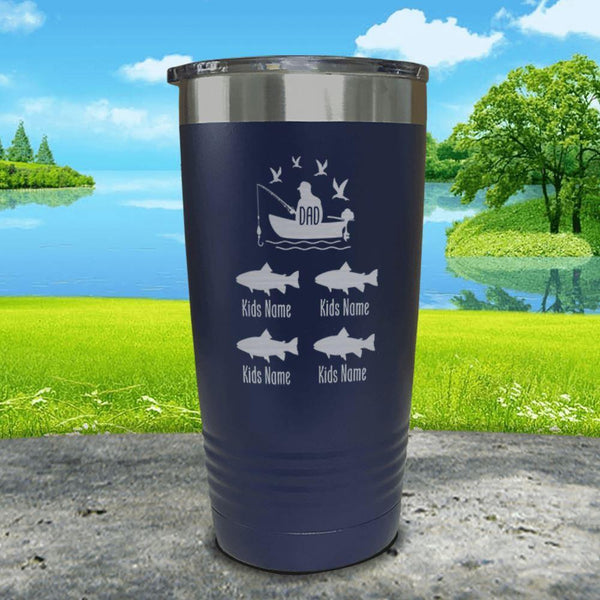 Fishing Dad (CUSTOM) With Child's Name Engraved Tumblers Tumbler ZLAZER 20oz Tumbler Navy
