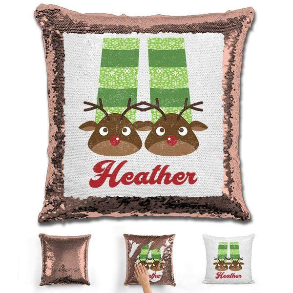 Personalized Slippers And Pajamas Christmas Magic Sequin Pillow Pillow GLAM Rose Gold