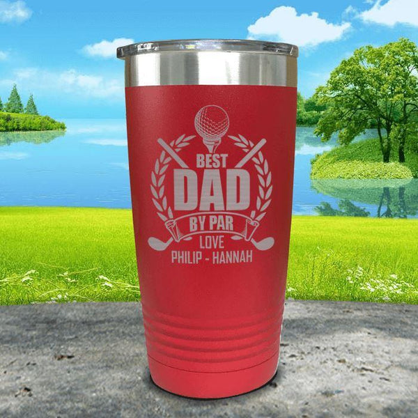 CUSTOM Best Dad By Par Engraved Tumblers Tumbler ZLAZER 20oz Tumbler Red