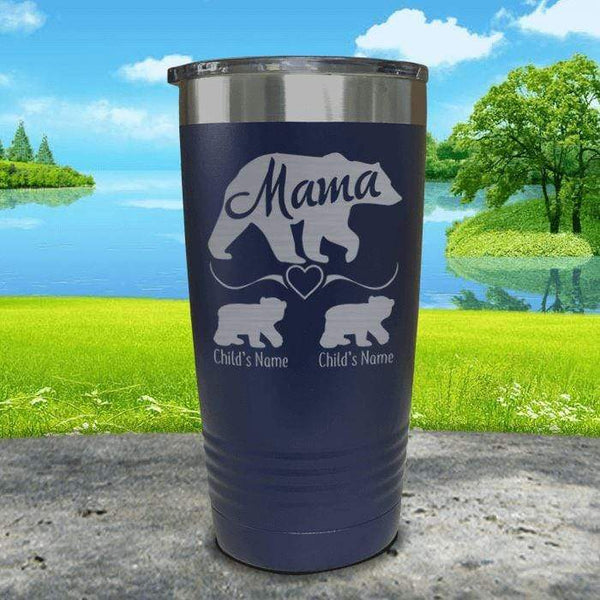 Mama Bear (CUSTOM) With Child's Name Engraved Tumblers Tumbler ZLAZER 20oz Tumbler Navy