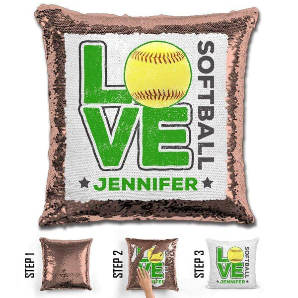 Personalized LOVE Softball Magic Sequin Pillow Pillow GLAM Rose Gold Green