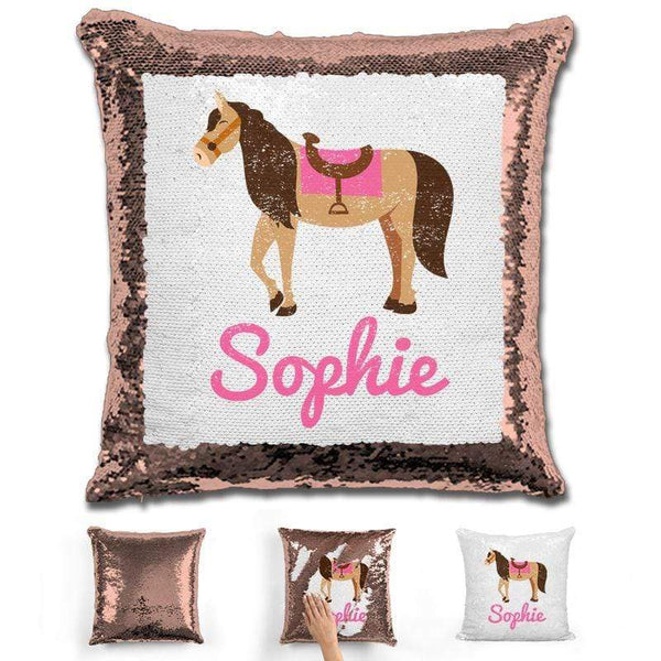 Horse Personalized Magic Sequin Pillow Pillow GLAM Rose Gold