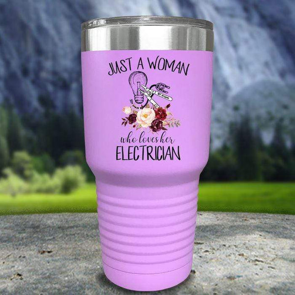 Just A Woman Who Loves Her Electrician Color Printed Tumblers Tumbler Nocturnal Coatings 30oz Tumbler Lavender