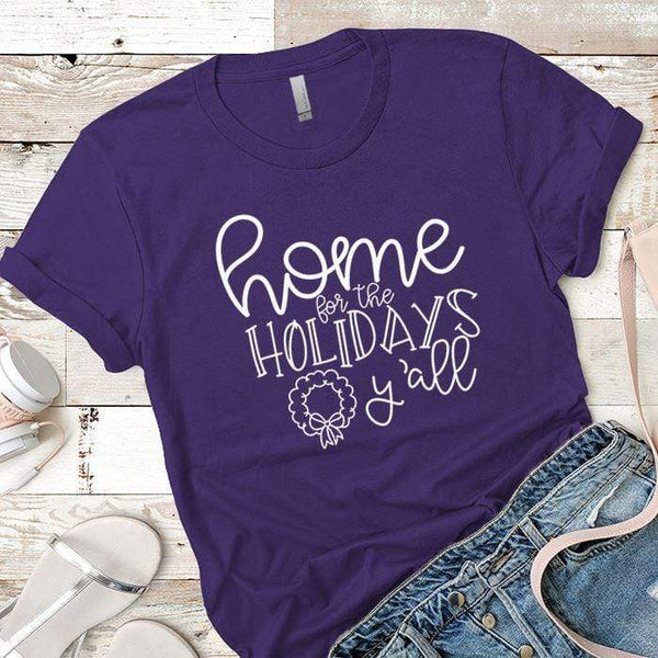 Home For The Holidays Premium Tees T-Shirts CustomCat Purple Rush/ X-Small
