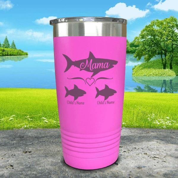 Mama Shark (CUSTOM) With Child's Name Engraved Tumblers Tumbler Southland 20oz Tumbler Pink