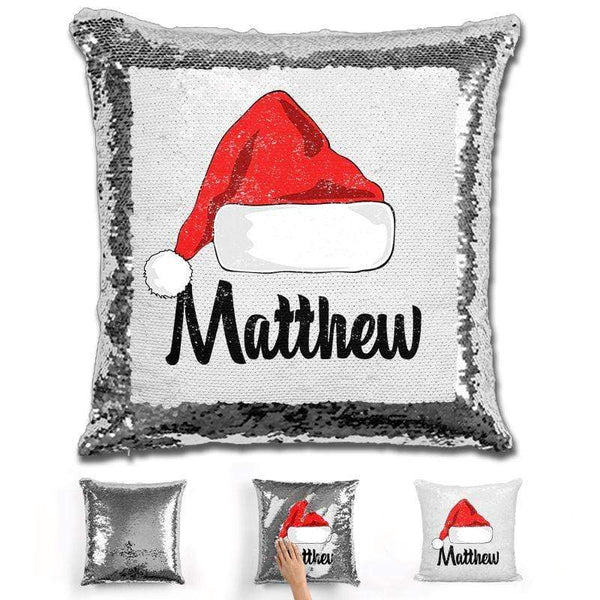 Personalized Santa Claus Hat Christmas Magic Sequin Pillow Pillow GLAM Silver
