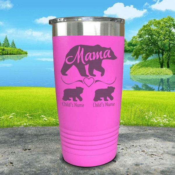 Mama Bear (CUSTOM) With Child's Name Engraved Tumblers Tumbler ZLAZER 20oz Tumbler Pink