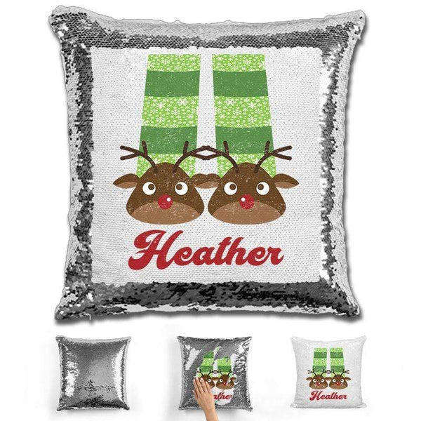 Personalized Slippers And Pajamas Christmas Magic Sequin Pillow Pillow GLAM Silver