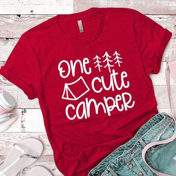 One Cute Camper Premium Tees T-Shirts CustomCat Red X-Small