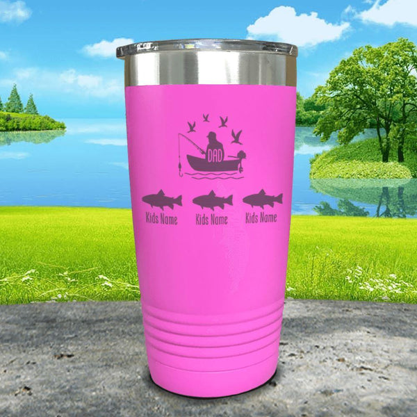 Fishing Dad (CUSTOM) With Child's Name Engraved Tumblers Tumbler ZLAZER 20oz Tumbler Pink