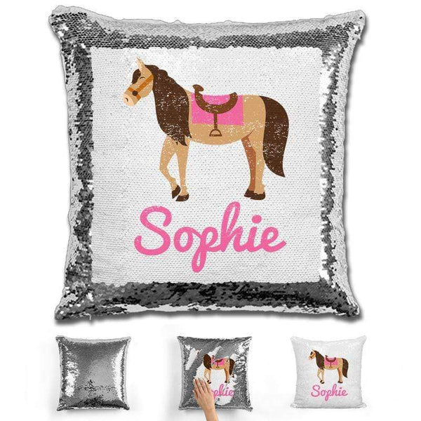 Horse Personalized Magic Sequin Pillow Pillow GLAM Silver