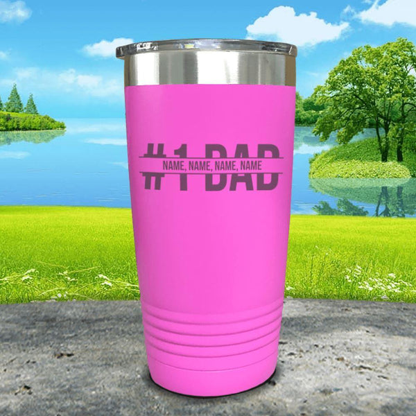 #1 Dad (CUSTOM) With Child's Name Engraved Tumbler Tumbler ZLAZER 20oz Tumbler Pink