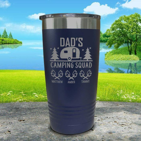 Dad's Camping Squad (CUSTOM) With Child's Name Engraved Tumblers Tumbler ZLAZER 20oz Tumbler Navy