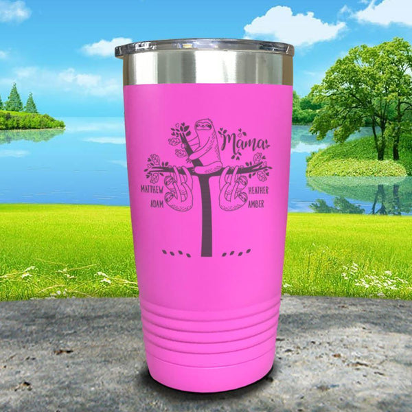 Sloth Mama (CUSTOM) With Child's Name Engraved Tumblers Tumbler ZLAZER 20oz Tumbler Pink