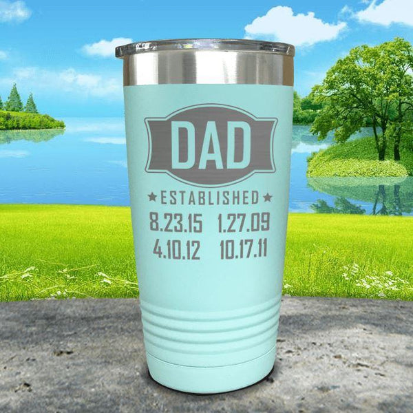 Dad Established CUSTOM Dates Engraved Tumblers Tumbler ZLAZER 20oz Tumbler Mint