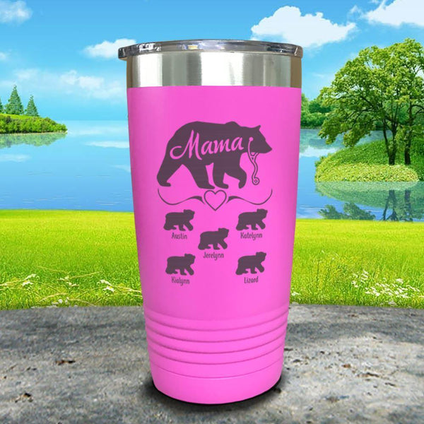Mama Bear Nurse (CUSTOM) With Child's Name Engraved Tumblers Tumbler ZLAZER 20oz Tumbler Pink