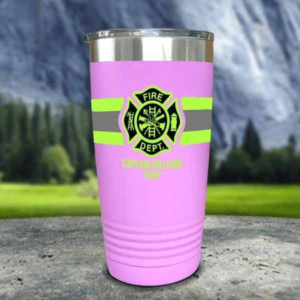 Personalized Firefighter FULL Wrap Color Printed Tumblers Tumbler Nocturnal Coatings 20oz Tumbler Lavender