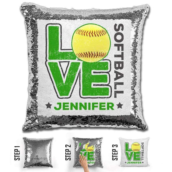 Personalized LOVE Softball Magic Sequin Pillow Pillow GLAM Silver Green