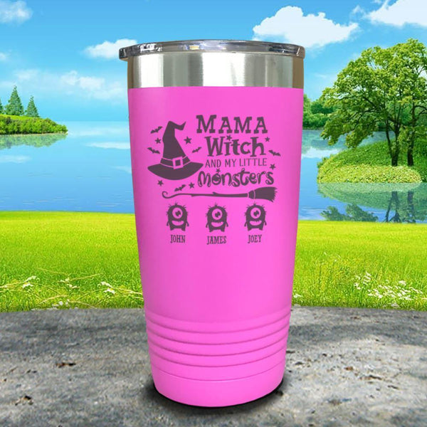 Mama Witch (CUSTOM) With Child's Name Engraved Tumbler Tumbler ZLAZER 20oz Tumbler Pink
