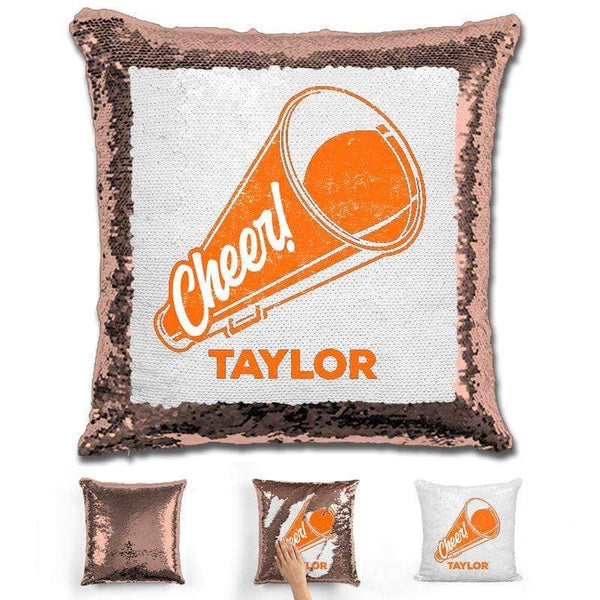 Cheerleader Personalized Magic Sequin Pillow Pillow GLAM Rose Gold Orange