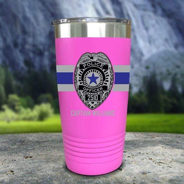 Personalized Police FULL Wrap Color Printed Tumblers Tumbler Nocturnal Coatings 20oz Tumbler Pink