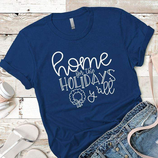 Home For The Holidays Premium Tees T-Shirts CustomCat Royal X-Small