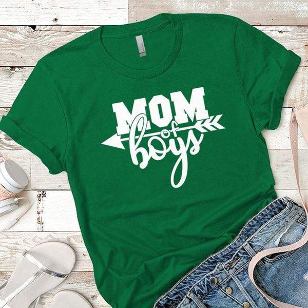Mom Of The Boys Premium Tees T-Shirts CustomCat Kelly Green X-Small