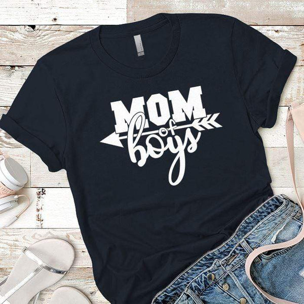 Mom Of The Boys Premium Tees T-Shirts CustomCat Midnight Navy X-Small
