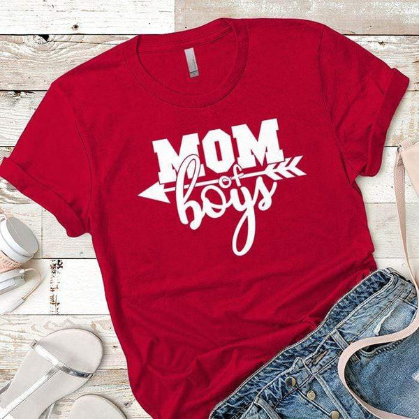 Mom Of The Boys Premium Tees T-Shirts CustomCat Red X-Small