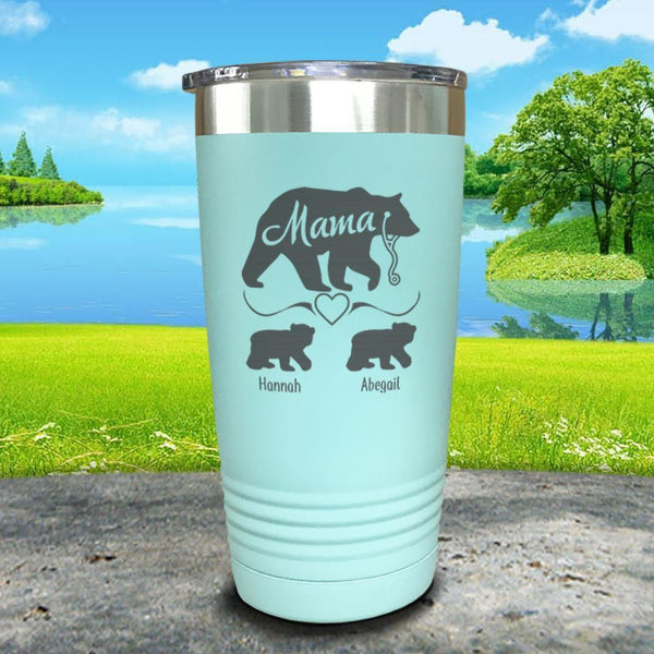 Mama Bear Nurse (CUSTOM) With Child's Name Engraved Tumblers Tumbler ZLAZER 20oz Tumbler Mint